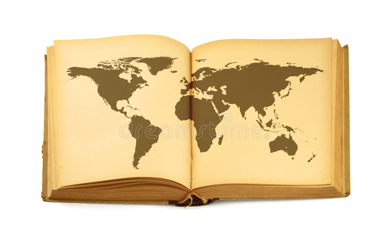 World map in open book stock images