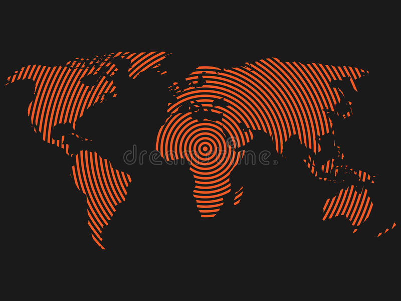 World map of orange concentric rings on dark grey background download world map of orange concentric rings on dark grey background worldwide communication radio waves gumiabroncs Images