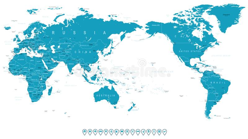 World map outline contour silhouette borders asia in center stock download world map outline contour silhouette borders asia in center stock illustration illustration of gumiabroncs Gallery
