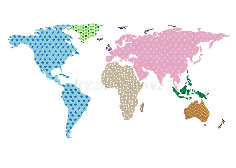 World map outline vector different colorful patterns white background royalty free illustration