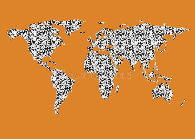 World map outline vector black dots white fill orange brown world map outline in black dots on white fill map outline on orange brown background map outline ideal for backdrop classroom teaching wallpaper publicscrutiny Images