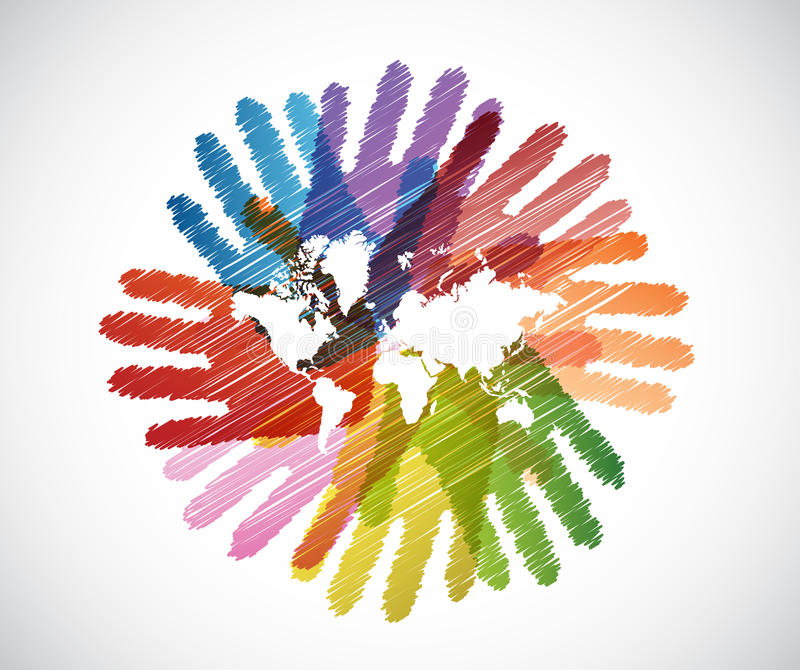 world map over diversity hands circle royalty free illustration
