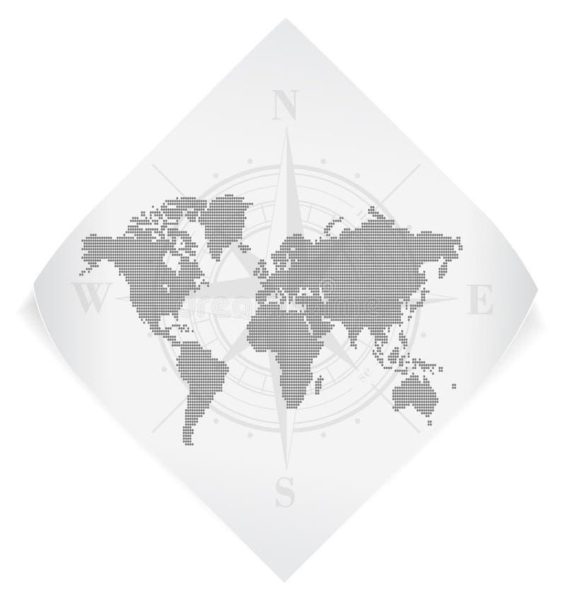 World map over white paper. stock illustration