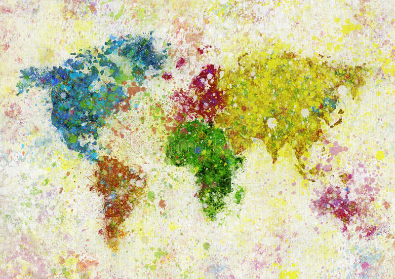 World map painting vector illustration