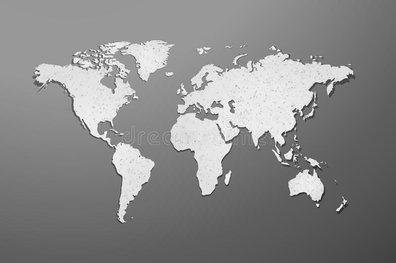 World map with paper texture on gray background royalty free illustration