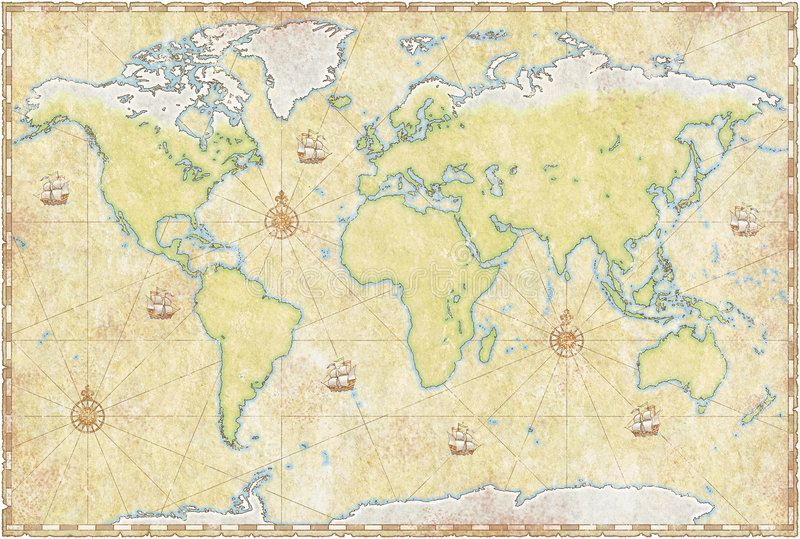 World Map On Parchment royalty free illustration