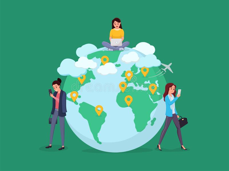 World map people to people connection stock illustration
