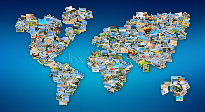 World map with photos stock photo