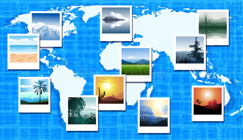 World map with photos of different geographic loca. Vector World map with photos of different geographic locations stock illustration