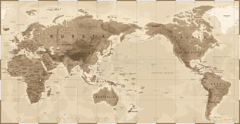 World map physical vintage asia in center china korea japan download world map physical vintage asia in center china korea japan stock gumiabroncs Choice Image