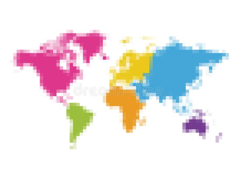 World map pixel art with colorful separate continents royalty free stock photography