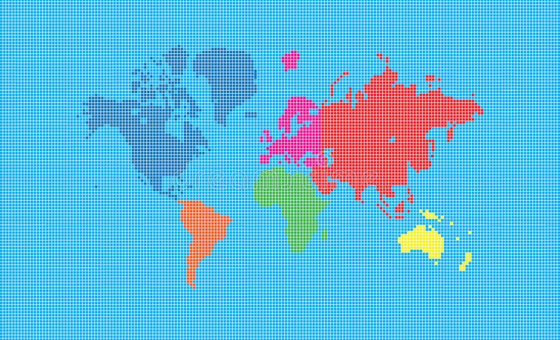 Download World map of pixel squares stock illustration. Illustration of geography - 20651164
