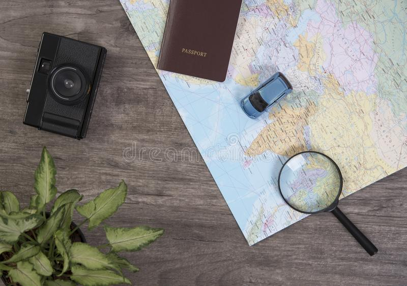 World map for planning vacation with other travel accessories stock download world map for planning vacation with other travel accessories stock photo image of magnifying gumiabroncs Images