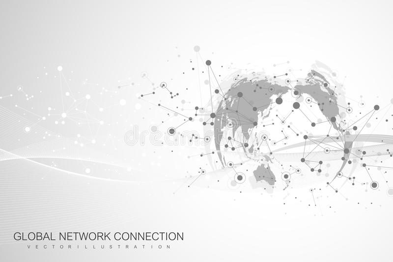 World map point with global technology networking concept. Digital data visualization. Lines plexus. Big Data background royalty free illustration