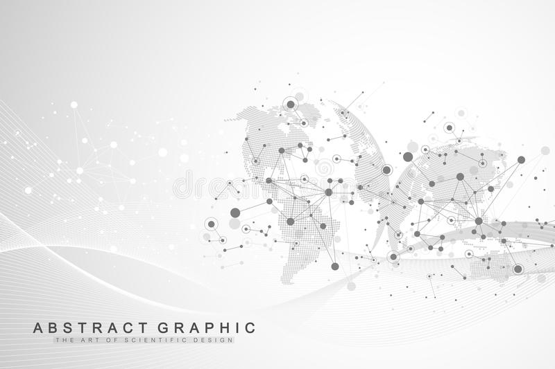 World map point with global technology networking concept. Digital data visualization. Lines plexus. Big Data background stock illustration