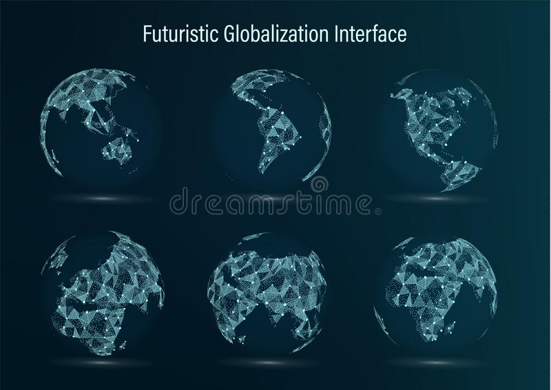 World Map Point Set. North America. South . Africa. Asia. Europe. Australia And Oceania. Vector Illustration. Futuristic royalty free illustration