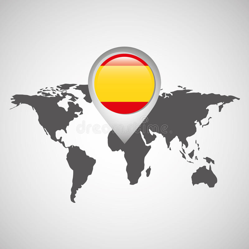 World map with pointer flag spain stock illustration