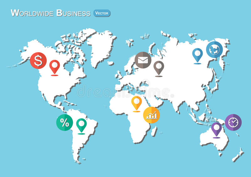 World Map with Pointers and Business icon ( Flat design ) stock illustration