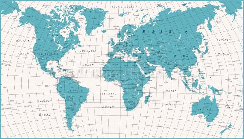 World Map Political Vintage Vector royalty free illustration