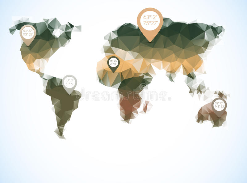 World map in polygonal style royalty free illustration