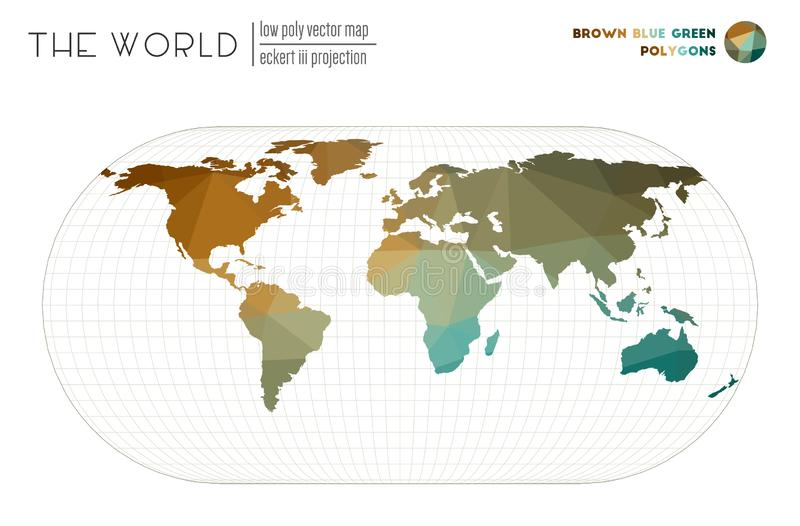 World map in polygonal style. Eckert III projection of the world. Brown Blue Green colored polygons. Beautiful vector illustration stock illustration