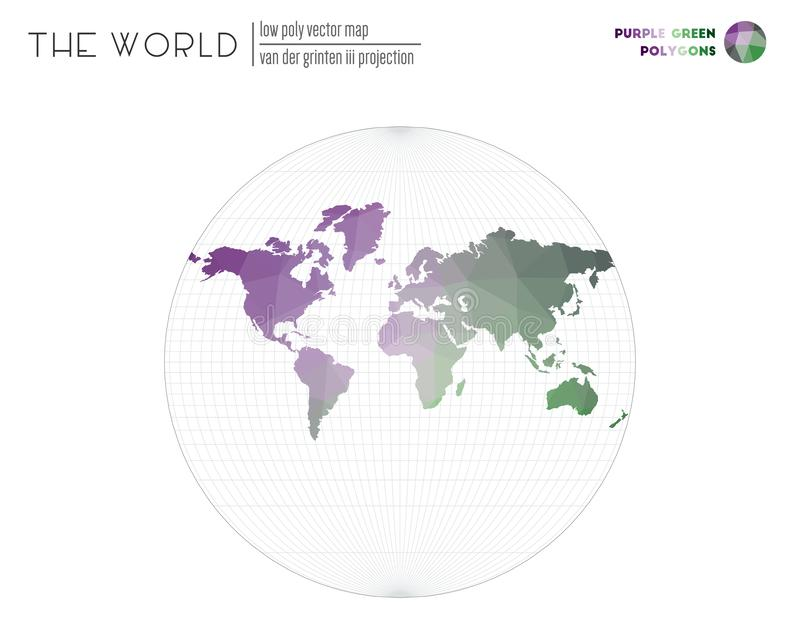 World map in polygonal style. Van der Grinten III projection of the world. Purple Green colored polygons. Beautiful vector illustration royalty free illustration
