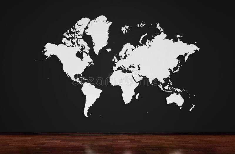 World map. popular World map template, cover, annual reports, Flat Earth. wall and wooden oak floor.  stock photos