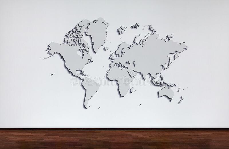 World map. popular World map template, cover, annual reports, Flat Earth. wall and wooden oak floor.  royalty free stock photos