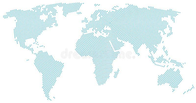 World map radial dot pattern stock illustration