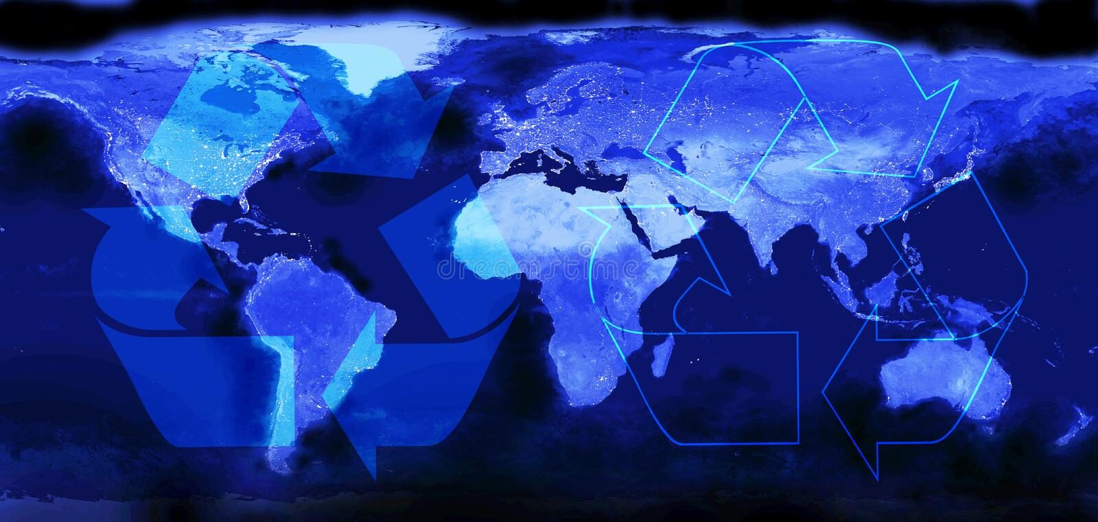 World map.  Recycling symbol. Preserving the world`s environment. Concept recycle - reduce - reuse. Panoramic image royalty free illustration