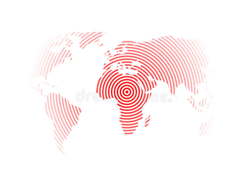 download world map of red concentric rings on white background earthquake epicentre theme modern