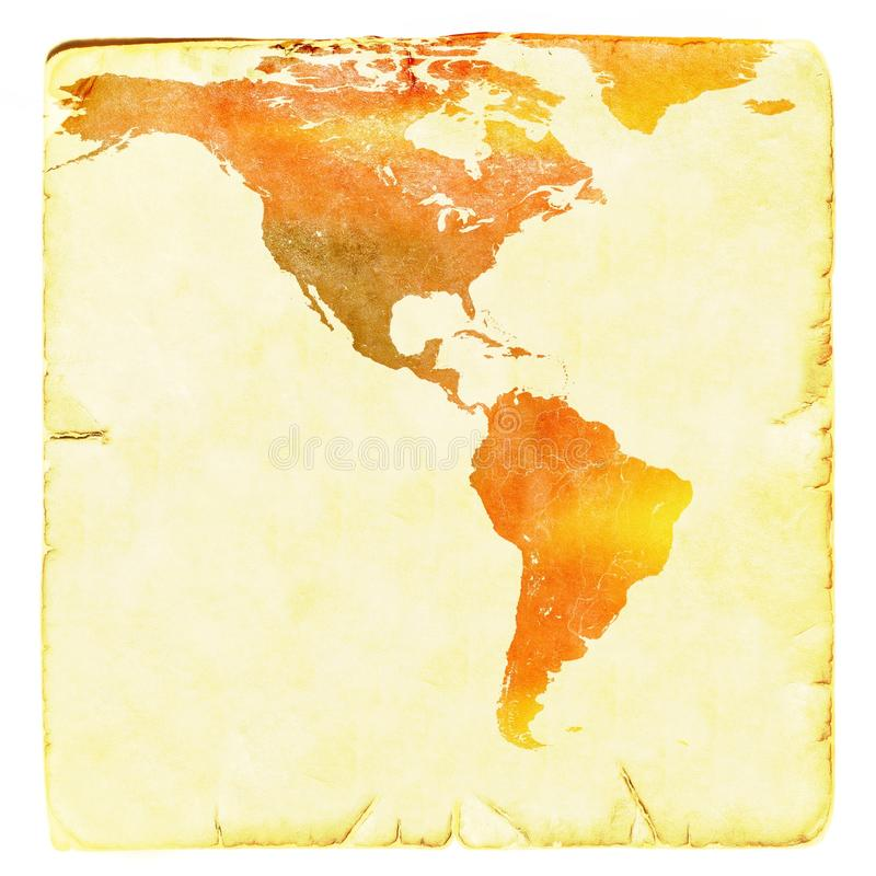 World Map In Red And Yellow Tones USA And Latin America Ancient - Basic world map