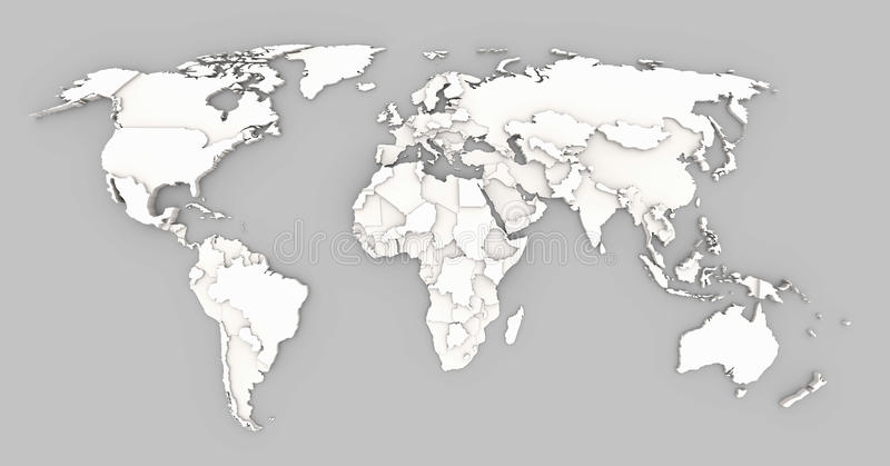 World map relief. 3d background of world map with extruded shapes of states stock illustration