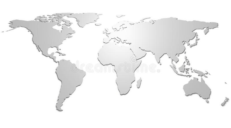 World map. In relief with shadow, white background royalty free illustration