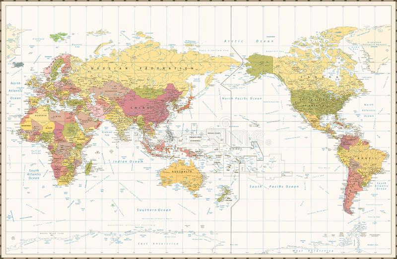 World Map Retro Color Pacific Centred royalty free illustration