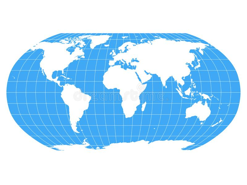 World Map in Robinson Projection with meridians and parallels grid. White land and blue seas and oceans. Vector. Illustration vector illustration