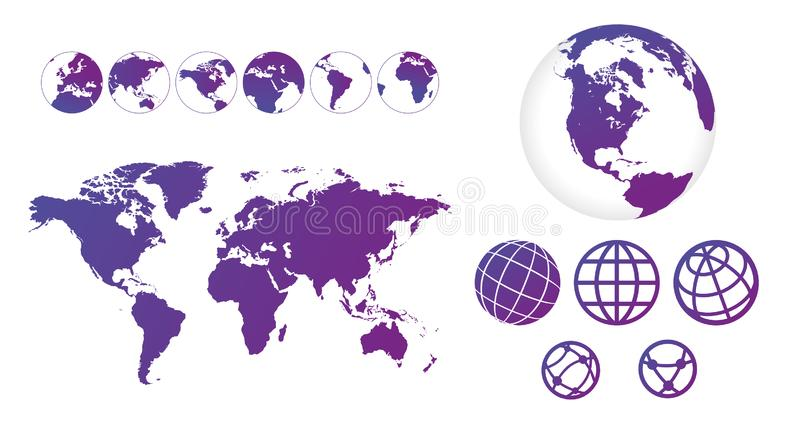 World map with set of globes linear icons and different sides. Design information, business graph and chart. Vector illustration. Isolated stock illustration