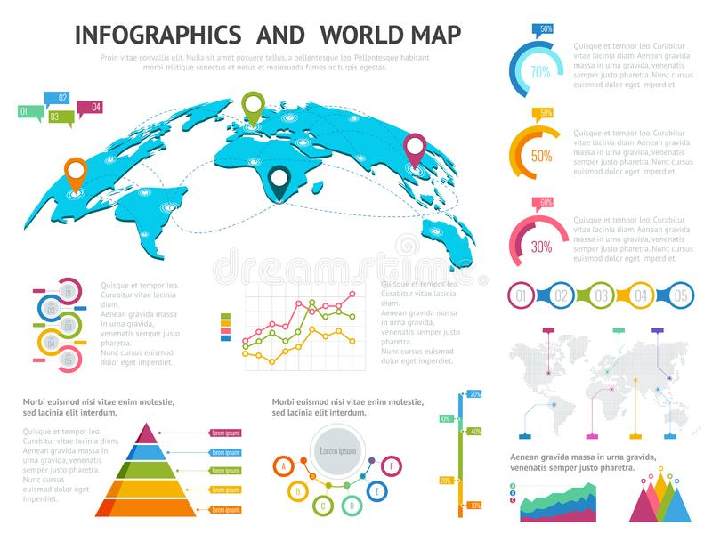 World map with set of infographics elements big set of infographics download world map with set of infographics elements big set of infographics with data icons gumiabroncs Gallery