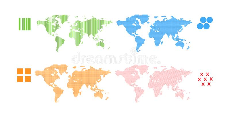 World map set. Patern different shapes color. World map set. Patern different shapes different colors. World ecology. Advertising poster industry world business royalty free illustration