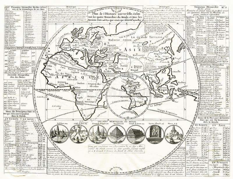 World map seven wonders of the ancient world 1707 stock image download world map seven wonders of the ancient world 1707 stock image image of gumiabroncs Gallery