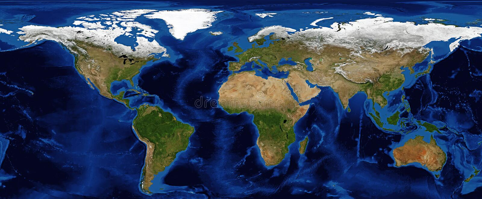 World Map Shaded Relief with Bathymetry. World Map in Shaded Relief and Bathymetry with continents showing snow cover in Spring royalty free stock images