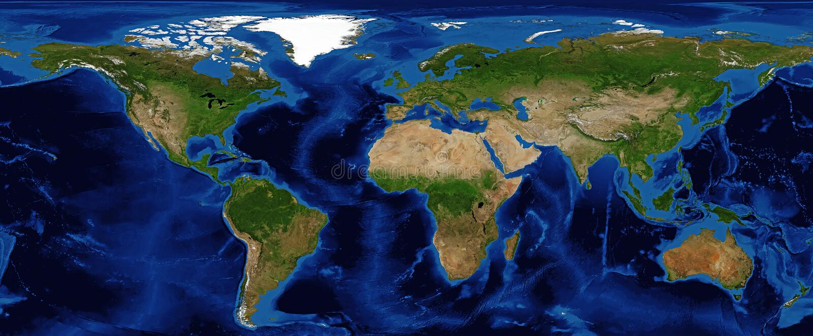 World Map Shaded Relief with Bathymetry. And snow cover in Summer, showing continents in Summer stock photos