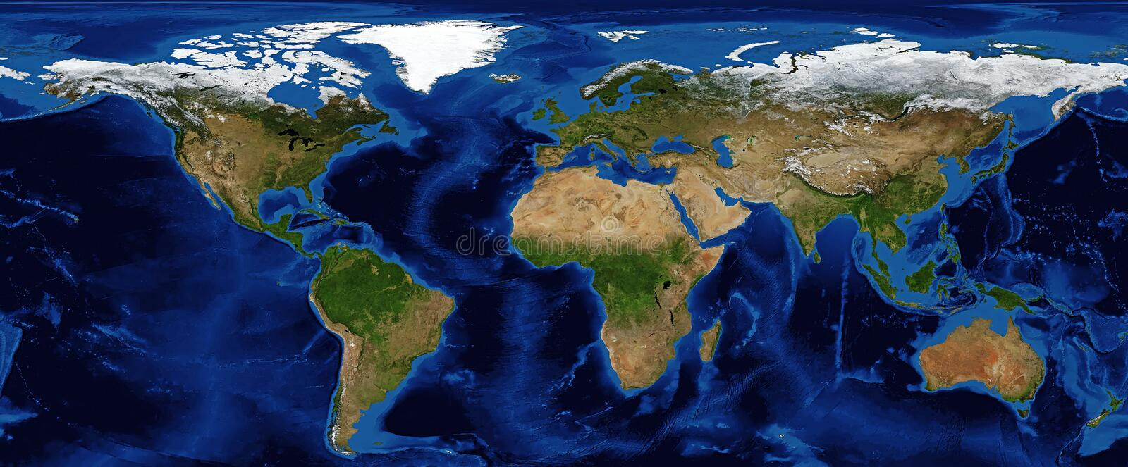 World Map Shaded Relief with Bathymetry. And snow cover in Fall, showing continents stock photography