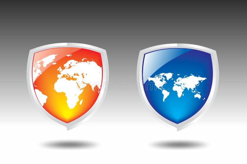 World map Shield vector stock illustration