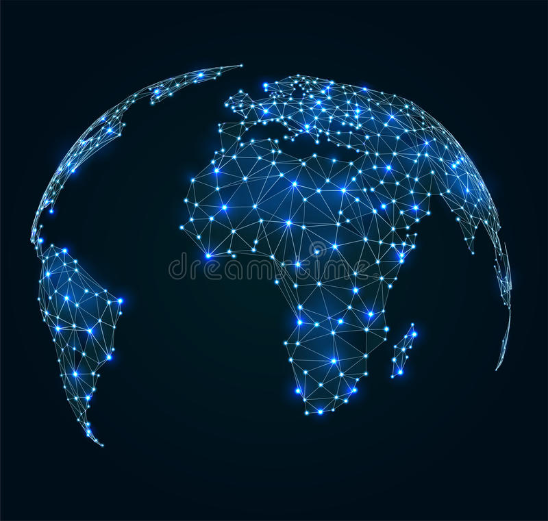 World map with shining points, network connections stock illustration