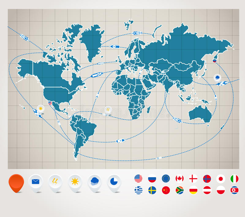 Download World Map With Ship Tracking Stock Vector - Image: 24537735