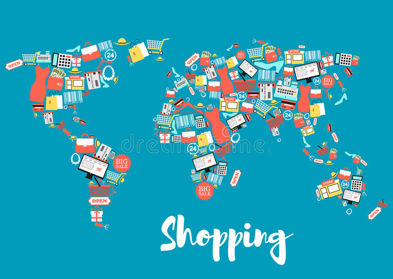 World map with shopping and sale icons stock vector illustration shopping and sale icons creating world map shopping basket and bag gift box store discount and price tag money credit card cloth shoes calculator gumiabroncs Image collections