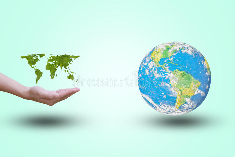 World map showing open hand with green leaves world on a pastel download world map showing open hand with green leaves world on a pastel background gumiabroncs Image collections