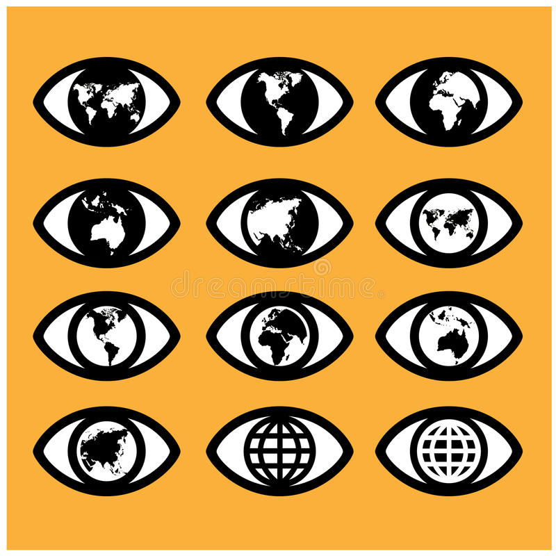 World map sign in the eye,eye sign,vision concept. royalty free illustration