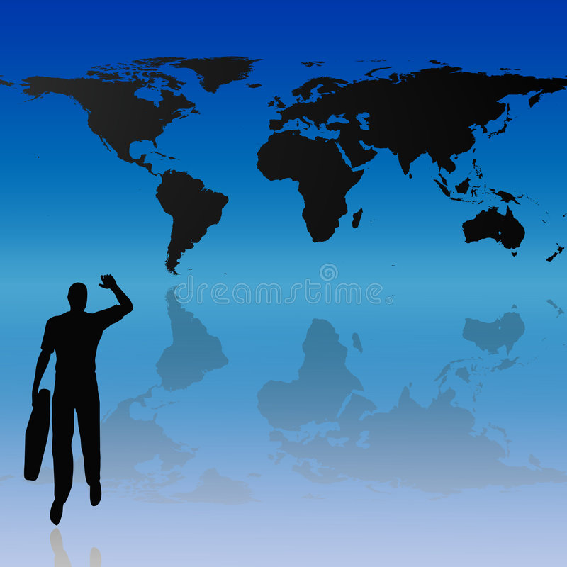 World map and silhouette background stock photography